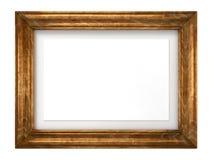 Rocznika Drewniana Wizerunku Rama Odizolowywająca na Biel. Fotografia Royalty Free