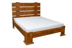 Rocznika drewniany łóżko Zdjęcia Royalty Free