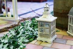Rocznika drewniany lampowy biały kolor Obraz Royalty Free