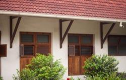 Rocznika drewniany okno z zielonym drzewem na przodzie ono Obrazy Stock
