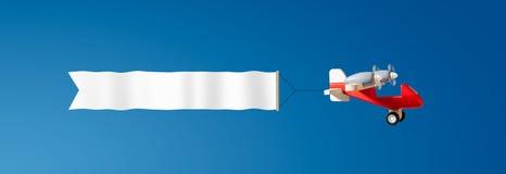 Rocznika drewniany samolotowy latanie w niebie z białym pustym zakazem obraz stock
