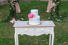 Rocznika drewniany stół z ślubem cake-2 obraz royalty free