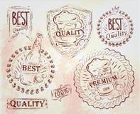 Rocznika druku projekta piwa elementy. Jasnobrązowa kreda. royalty ilustracja