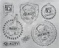Rocznika druku projekta piwa elementy. Węgiel. ilustracja wektor