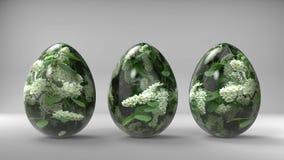 Rocznika Easter jajka z bia?ym okwitni?cie wizerunkiem ilustracji