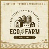 Rocznika Eco gospodarstwa rolnego etykietka royalty ilustracja