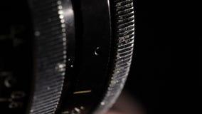 Rocznika ekranowy obiektyw. Apertura pierścionek. Makro- strzał. zbiory