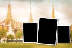 Rocznika fillter fotografii rama z punktem zwrotnym Bangkok Wat-pha-kaw ilustracji