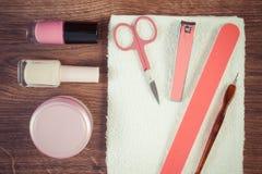 Rocznika fotografia, kosmetyki i akcesoria dla, manicure'u lub pedicure'u, pojęcie gwóźdź opieka Zdjęcia Stock