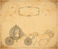 Rocznika fracht z koniem i ramą z kwiecistym ornamentem na starzejącym się papierowym tle ilustracji
