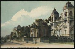 Rocznika Francja pocztówka Rouen Obrazy Stock