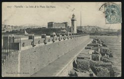 Rocznika Francja pocztówki latarnia morska Fotografia Stock