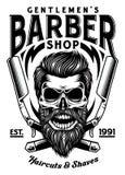 Rocznika fryzjera męskiego Brodata czaszka Z Krzyżować żyletkami Royalty Ilustracja
