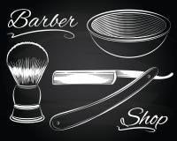 Rocznika fryzjera męskiego sklep, golenie, prosta żyletka Obrazy Royalty Free