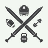 Rocznika futbol amerykański, gym etykietka, emblemat i logo, Zdjęcia Stock