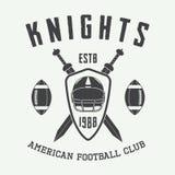Rocznika futbolu amerykańskiego i rugby etykietka emblemat lub logo, Fotografia Royalty Free