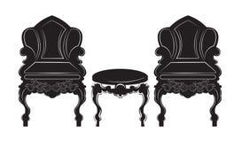 Rocznika gotyka stylu karło i stołu meble Zdjęcia Stock