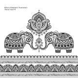 Rocznika graficzny wektorowy Indiański lotosowy etniczny słoń bezszwowy Fotografia Royalty Free