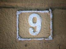 Rocznika grunge kwadrata metalu ośniedziały talerz liczba uliczny adres Obraz Royalty Free