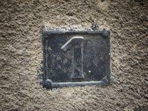 Rocznika grunge kwadrata metalu ośniedziały talerz liczba uliczny adres Zdjęcie Stock