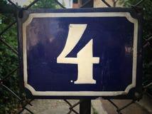 Rocznika grunge kwadrata metalu ośniedziały talerz liczba uliczny adres Obrazy Royalty Free