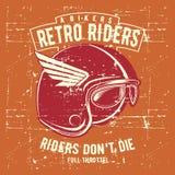 Rocznika grunge stylu hełma retro jeździec z tekstem ilustracja wektor