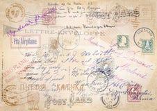 Rocznika grunge tło z poczta setem ilustracja Zdjęcie Royalty Free