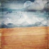 Rocznika grunge textured opustoszałego piasek diuny krajobraz fotografia stock