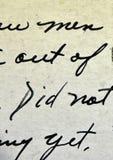 Rocznika Handwriting Antykwarski pismo na pocztówce zdjęcia stock