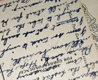 Rocznika Handwriting Antykwarski pismo na poczt?wce obraz royalty free