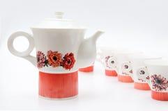 Rocznika herbaciany ustawiający z czajnikiem Obraz Stock