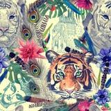 Rocznika hindusa stylu tygrysów głowy wzór Akwareli ręka rysująca Zdjęcie Royalty Free