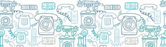 Rocznika i nowożytnych telefonów horyzontalny bezszwowy ilustracja wektor