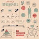 Rocznika infographics projekta elementy Obrazy Stock