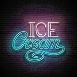 Rocznika Jarzeniowy Signboard z lody inskrypcją Neonowy Retro Le Zdjęcia Royalty Free