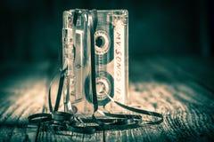 Rocznika jeden audio kaseta z wyciąganą taśmą obrazy royalty free