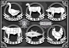 Rocznika jedzenia Mięsne etykietki na Blackboard Zdjęcia Royalty Free