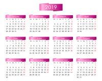 Rocznika kalendarz dla 2019 rok z menchiami royalty ilustracja