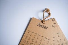 Rocznika kalendarza 2017 handmade zrozumienie na biel ścianie Obraz Stock