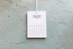 Rocznika kalendarzowi 2019 Stycznia handmade zrozumienie na ścianie fotografia royalty free