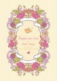 Rocznika karta z kwiatami i ptakami Zdjęcie Stock