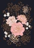 Rocznika kartka z pozdrowieniami z kwiat peoniami ilustracja wektor