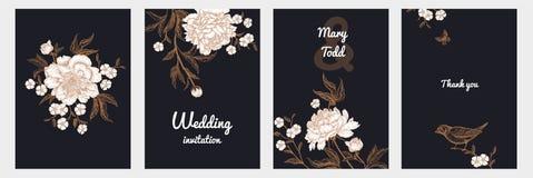 Rocznika kartka z pozdrowieniami z ptakami i kwiatami ustawiającymi ilustracja wektor