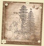 Rocznika kartka z pozdrowieniami rośliny składu wektoru wzór Fotografia Royalty Free