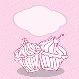 Rocznika kartka z pozdrowieniami szablon z babeczką Dla urodziny, scrapbook Zdjęcie Royalty Free
