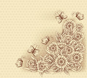 Rocznika kartka z pozdrowieniami z kwiatami i motylem, wektor Zdjęcie Royalty Free