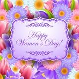 Rocznika kartka z pozdrowieniami z kwiatami i tekst ramą Obrazy Royalty Free