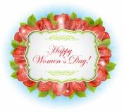 Rocznika kartka z pozdrowieniami z różami i tekst ramą Obrazy Stock