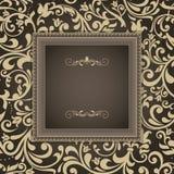 Rocznika kartka z pozdrowieniami, zaproszenie z kwiecistymi ornamentami Zdjęcia Royalty Free