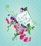 Rocznika karty, kwiatów, tasiemkowego i starego papierowy pokój, Fotografia Stock